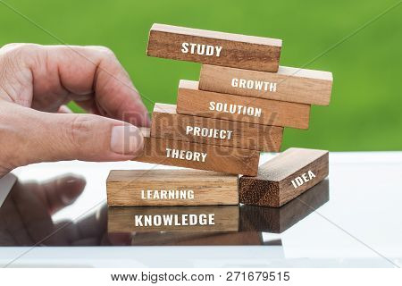 Study And Education Concept : Student Hand Placing Wooden Blocks Tower For Letter E.g Learning, Stud