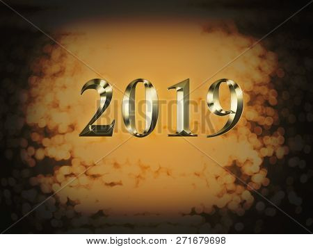 Luxury Gold 2019 New Year On Gold Bokeh Background. Happy New Year 2019.