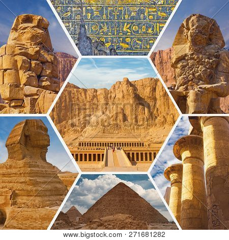 Collage In The Form Of Honeycombs From The Tourist Attractions Of Egypt, The Great Pyramids, The Sph