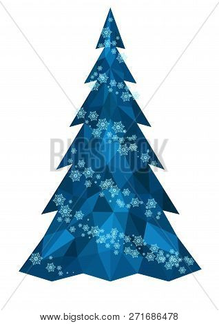 Christmas Polygonal Christmas Tree In Blue With Snowflakes - Vector