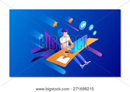 Online Dating And Social Networking Concept. Man Chatting On The Internet. Vector 3d Isometric Illus