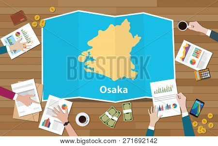 Osaka Kansai Japan City Region Economy Growth With Team Discuss On Fold Maps View From Top Vector Il