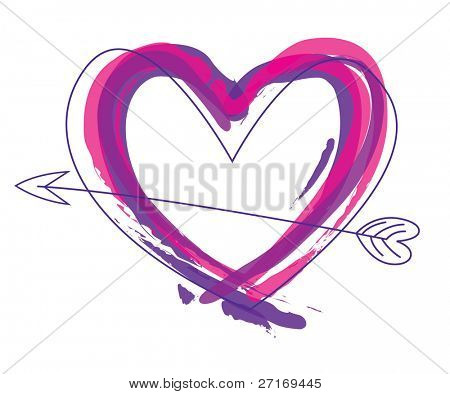 Abstract heart vector in purple and pink, perfect for valentines day