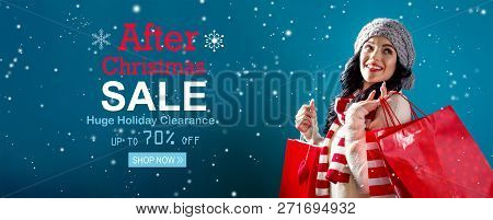 After Christmas Sale Message With Young Woman Holding Shopping Bags
