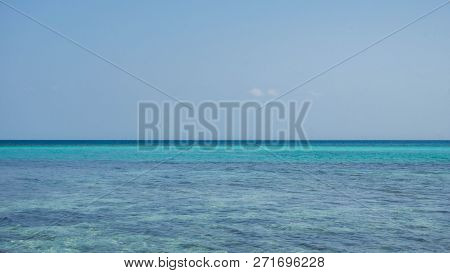 Transparent And Clear Blue Green Sea With Clear Sky In Karimun Jawa Indonesia