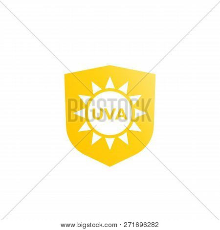 Uva Protection Icon, Sun And Shield, Eps 10 File, Easy To Edit