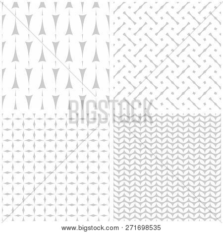 Tile Vector Pattern Set With Print On Grey Background