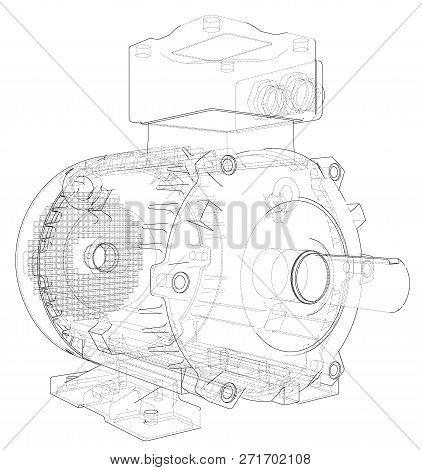 Electric Motor Outline. 3d Illustration. Wire-frame Style