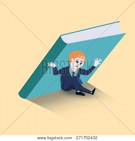 Businessmen are holding up a big book not to fall over him. concept for .Obligation to bear. vector illustration. poster