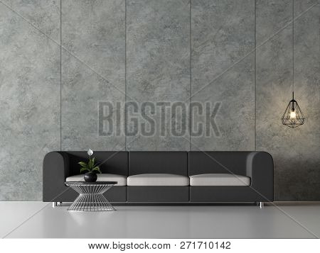 Minimal Loft Living Room 3d Render,there Are White Floor,polished Concrete Wall With Vertical Groove