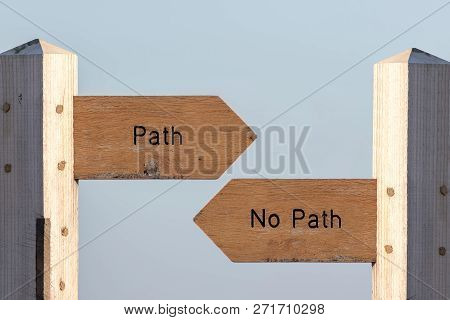 Path Sign Choice. Follow Destiny Or Make Your Own Way Through Life. Debating Spirituality, Determini
