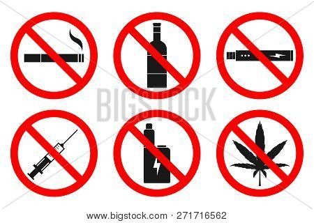 No Smoking, No Vaping, No Hemp, No Drugs, No Alcohol Sign. Vector.