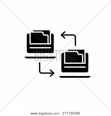 Files Exchange Black Icon, Vector Sign On Isolated Background. Files Exchange Concept Symbol, Illust