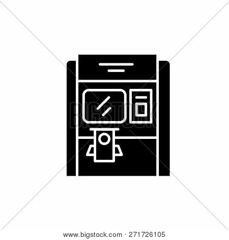 Cash Dispenser Black Icon, Vector Sign On Isolated Background. Cash Dispenser Concept Symbol, Illust