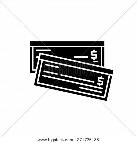 Bank Bill Black Icon, Vector Sign On Isolated Background. Bank Bill Concept Symbol, Illustration