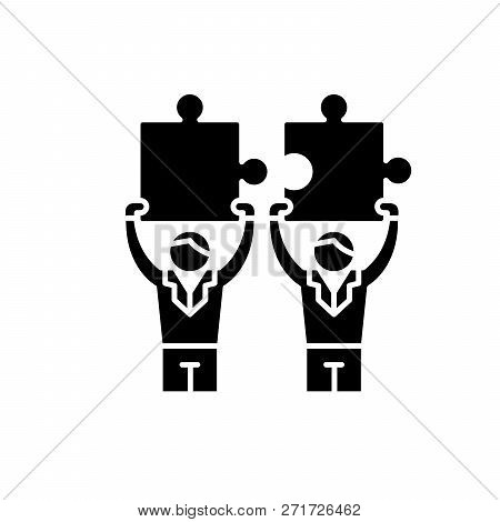 Business Cooperation Black Icon, Vector Sign On Isolated Background. Business Cooperation Concept Sy
