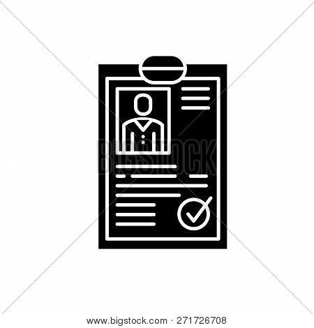 Cv Resume Black Icon, Vector Sign On Isolated Background. Cv Resume Concept Symbol, Illustration