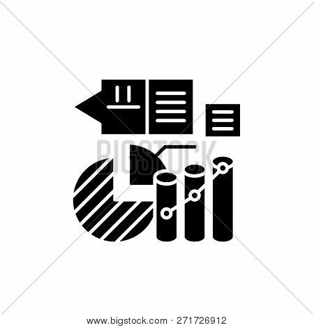 Marketing stats black icon, vector sign on isolated background. Marketing stats concept symbol, illustration poster