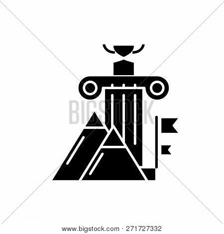 Awards Ceremony Black Icon, Vector Sign On Isolated Background. Awards Ceremony Concept Symbol, Illu