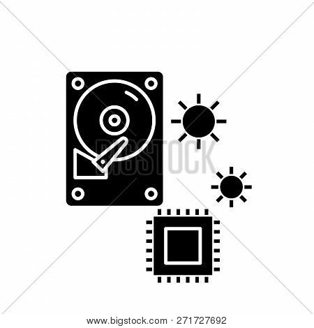 Hardware Solutions Black Icon, Vector Sign On Isolated Background. Hardware Solutions Concept Symbol