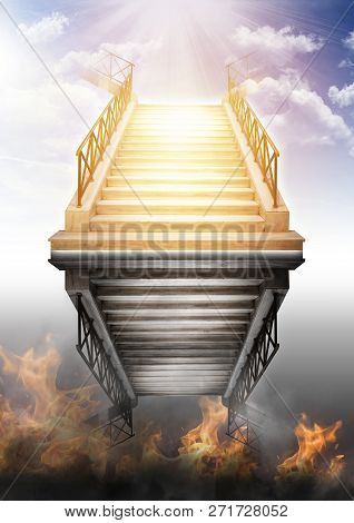 Heaven And Hell. Stairs To Heaven And To Hell. Abstraction Of Reflection Of The Stairs. Two Ways In