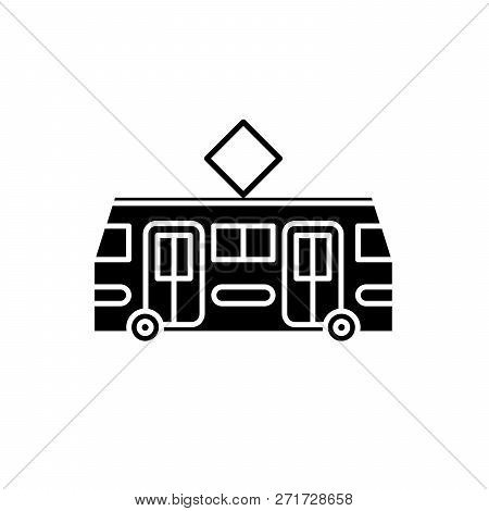 Tramway Black Icon, Vector Sign On Isolated Background. Tramway Concept Symbol, Illustration