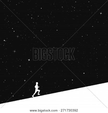 Man Runs Uphill In Park At Night. Vector Illustration With Silhouette Of Male Runner Under Starry Sk
