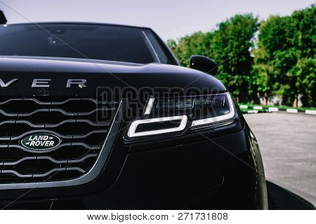 Moscow. Autumn 2018. The Land Rover Range Rover Velar In Black Color Compact Luxury Crossover Suv In