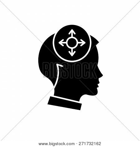 Decision Making Black Icon, Vector Sign On Isolated Background. Decision Making Concept Symbol, Illu