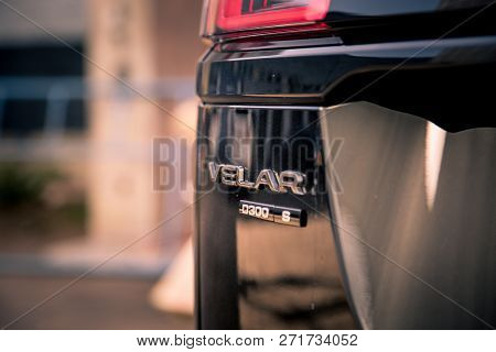 Moscow. Autumn 2018. The Land Rover Range Rover Velar Is A British Compact Luxury Crossover Suv Prod