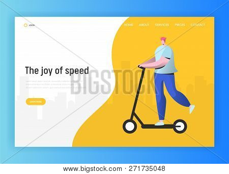 Active People Landing Page Template. Happy Man Character Riding Electric Scooter, Healthy Lifestyle