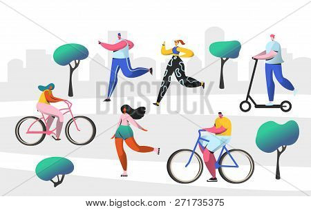 Active People Outdoor In The Park. Man And Woman Characters Riding Bicycle. Running Girl Healthy Lif