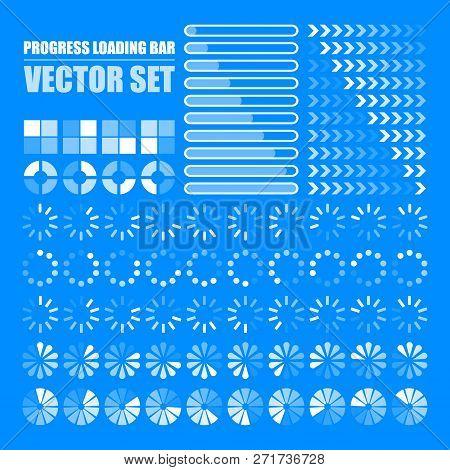 Progress Loading Bar. Set Of Indicators. Download Progress, Web Design Template, Interface Upload. V
