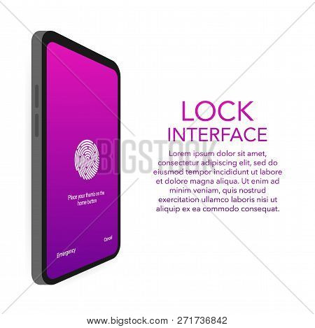 Screen Lock Authentication Password Smartphone Background Template. Illustration Of Phone Id Recogni