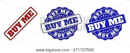 Buy Me Grunge Stamp Seals In Red And Blue Colors. Vector Buy Me Labels With Grunge Surface. Graphic