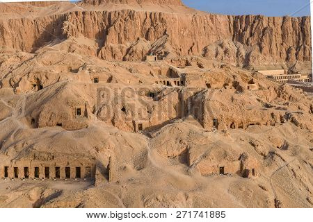 View From A Hot Air Ballon, The Deir Al-bahari Complex And  Tombs In The Queens Valley,