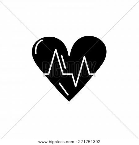 Cardiology Black Icon, Vector Sign On Isolated Background. Cardiology Concept Symbol, Illustration