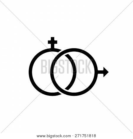 Sexology Black Icon, Vector Sign On Isolated Background. Sexology Concept Symbol, Illustration