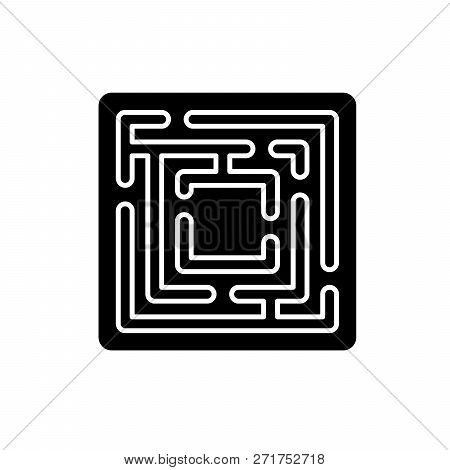 Path In The Maze Black Icon, Vector Sign On Isolated Background. Path In The Maze Concept Symbol, Il