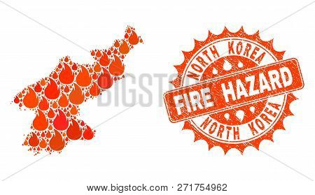 Fire Hazard Collage Of Map Of North Korea Burning And Rubber Stamp. Map Of North Korea Vector Collag