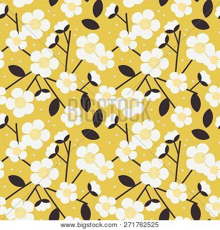 Sweet White Flower Seamless Pattern. Beautiful Flower On Yellow Background.
