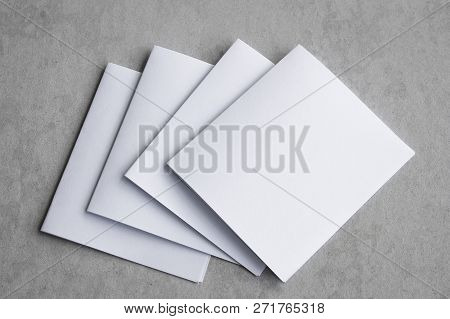Blank Portrait Mock-up Paper. Brochure Magazine Isolated On Gray, Changeable Background / White Pape
