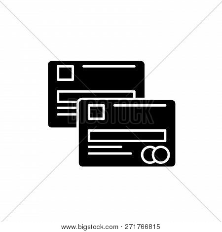Cash Cards Black Icon, Vector Sign On Isolated Background. Cash Cards Concept Symbol, Illustration