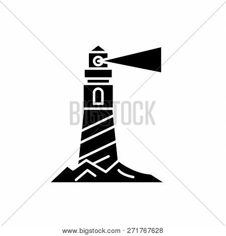 Lighthouse On The Shore Black Icon, Vector Sign On Isolated Background. Lighthouse On The Shore Conc