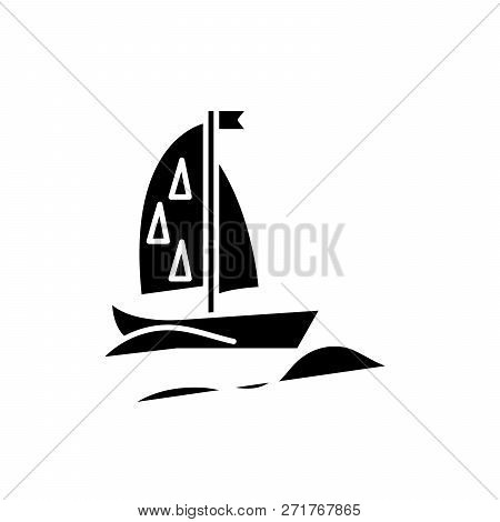 Sports Yacht Black Icon, Vector Sign On Isolated Background. Sports Yacht Concept Symbol, Illustrati