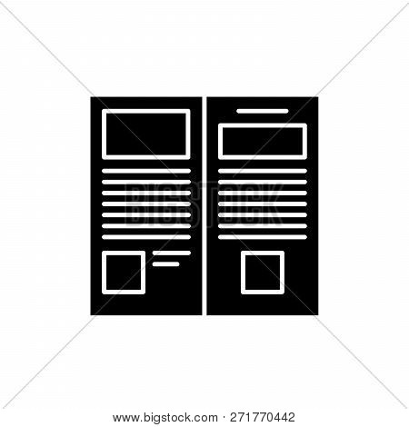 Press Release Black Icon, Vector Sign On Isolated Background. Press Release Concept Symbol, Illustra