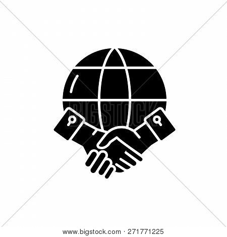 Global Partnership Black Icon, Vector Sign On Isolated Background. Global Partnership Concept Symbol