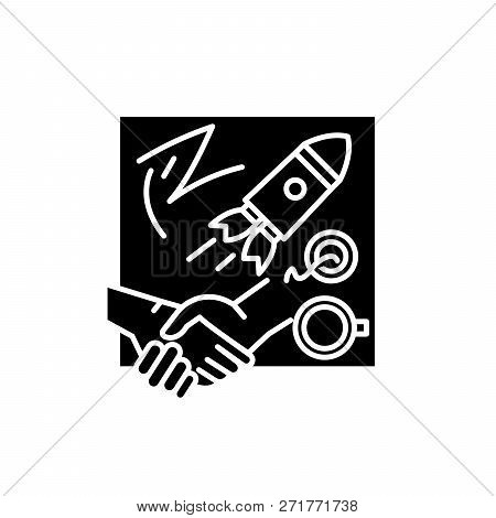 Innovative Solutions Black Icon, Vector Sign On Isolated Background. Innovative Solutions Concept Sy