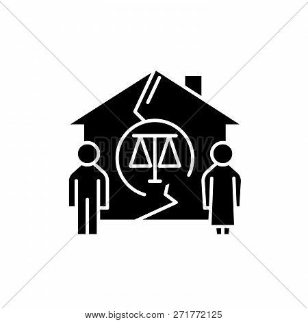 Family Divorce Black Icon, Vector Sign On Isolated Background. Family Divorce Concept Symbol, Illust