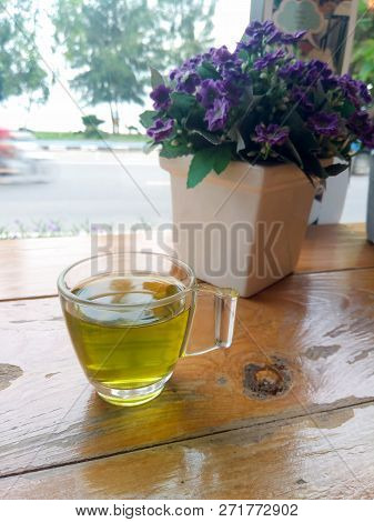 Green Tea In The Glass. Morning Window In Natural Light.